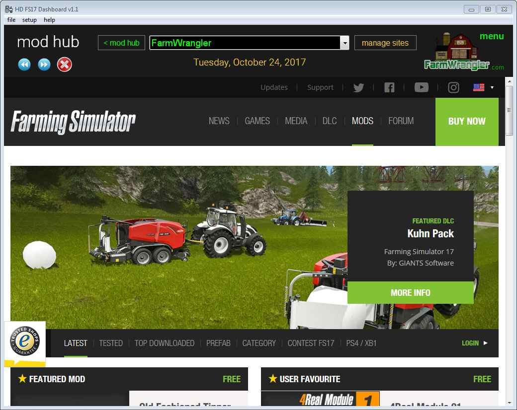 HD FS17 Dashboard - FarmWrangler - All things Farming Simulator